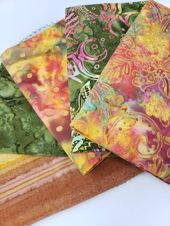Batik Cotton Fabric Of 5 One Yard Cuts In Grass Greens, Golden Yellow with Hints of Mauve  1YARDBN234