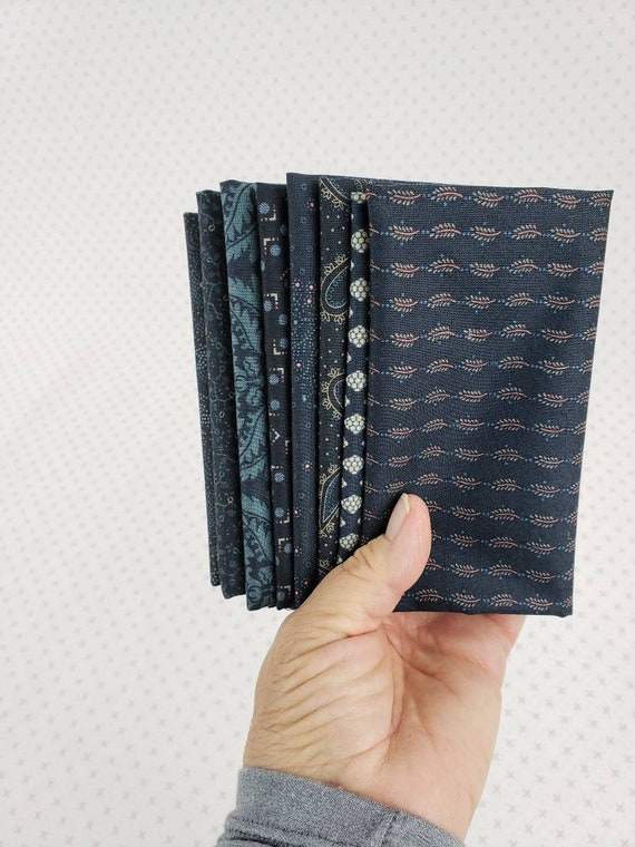 Kim Diehl Fat Eighth Bundle of 8 Handcut Navy Blue Vintage Quilt Fabric Prints, Blush and Blue Reproduction Collection, Henry Glass Fabrics