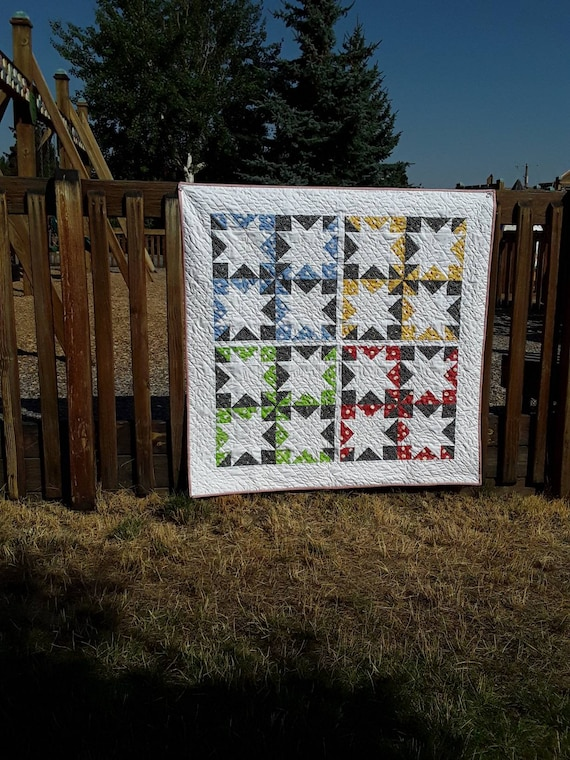 Modern Cottage Quilt Kit. Star Pattern,  Washington Street Studio Feedsack Fabric And Pattern From Suzy Quilts For Arts and Craft Sewing