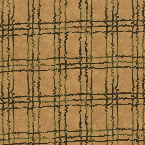 Pine Green Squiggles In Plaid On Tan Background, Through The Winter Woods, Holly Taylor for Moda Fabric by the Yard 6556 16