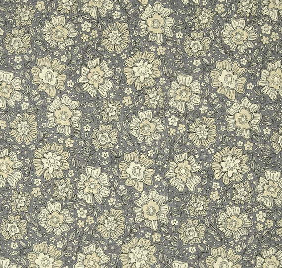Love More Pencil Flower Design On Grey Background, Quilt Fabric by the Yard For P&B Textiles. 312S