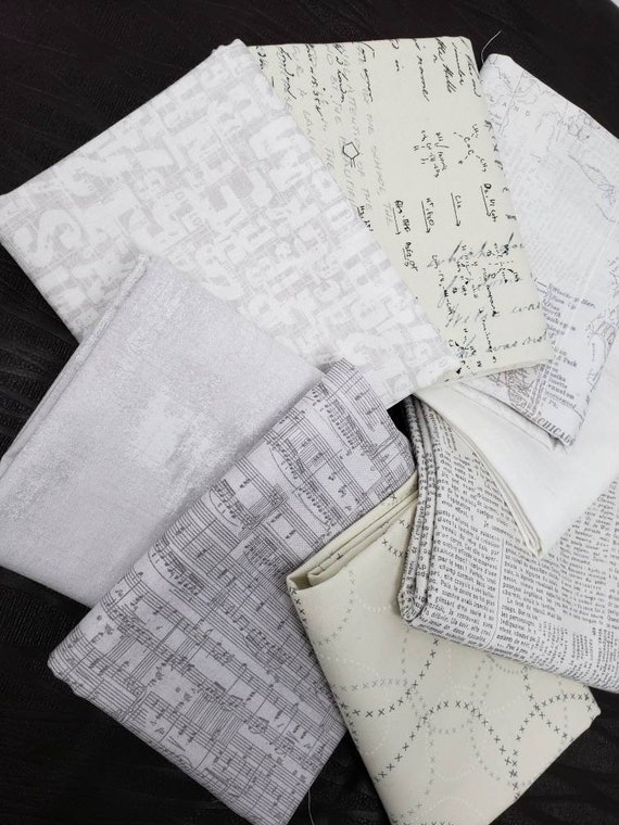 Neutral Fabric Bundle Of 8 Fat Eighths, Grunge and Compositions By Basic Grey Moda Fabrics, Light Backgrounds In Fog, Eggshell, White, Gray