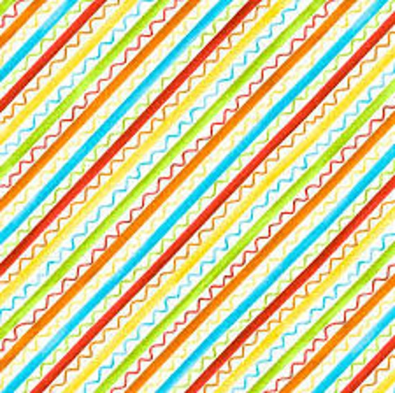 Orange, Blue, Red, Yellow and Green Stripe and Squiggle On White Background, Knit Happy by Julie Love Quilt Fabric by the Yard 1078 10