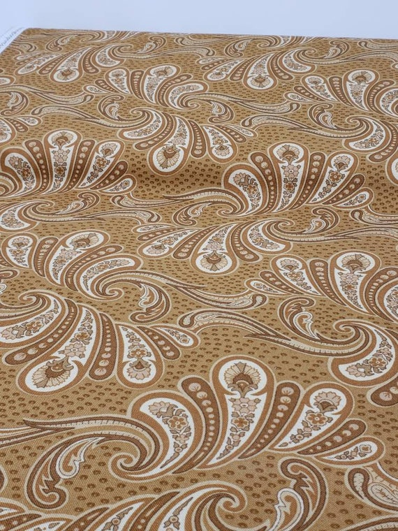 Enduring Grace by Kaye England For Wilmington Prints Quilt Fabric by the Yard, Creme And Brown On Gold Paisley Print On 98527 221
