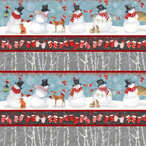 Charming Snowmen, Warm Woolen Mittens and White Birch Tree Bark Border Print,  Fabric by the Yard, by Barb Tourtillotte, 1312-11