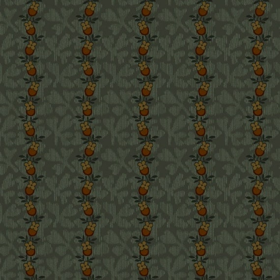 Little Oak Leaf Stripe On Teal Background Primitive Fall Home Decor, Pumpkin Farm Stacy West Buttermilk Basin, Fabric by the Yard 2053 76