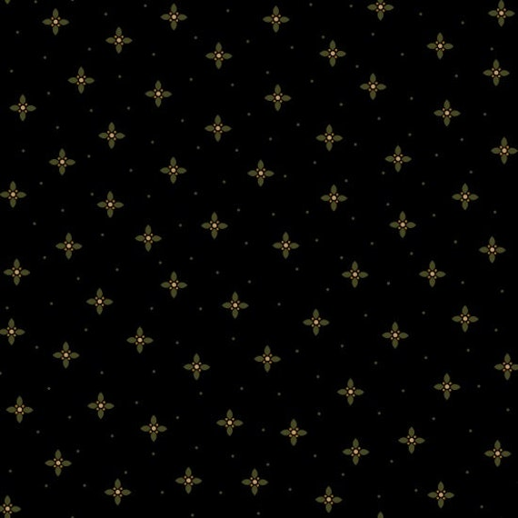 Ebony and Onyx By Kim Diehl Primitive Black Little Green Crosses With Tan Dots, Cotton Print Quilt Fabric by the Yard 6992 99