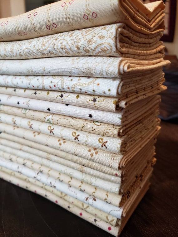 Kim Diehl Neutral Background Quilt Fabrics. 16 Fat Quarter Bundle Group E.  Hand Cut And Gently Folded. Collection of Butter Churn Basics