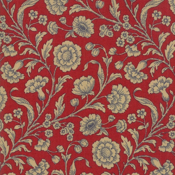 Vive La France Rouge and Tan, Tomato Red and Tan Etched Floral Prints By French General For Moda Quilt Fabric by The Yard 13830 12