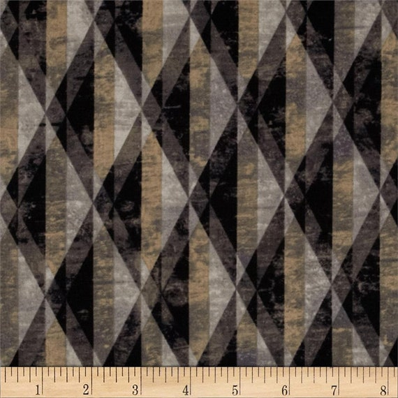 Triangle Prisms In Taupe and Tan On Black Background, Fabric by the Yard Michael Miller Fabrics 5999 Stone