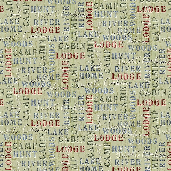 Lodge Words, Sage Green Background, Cabin In The Woods, Rustic Hunting by the River Decor, Twilight Lake Quilt Fabric by the Yard 1687 66