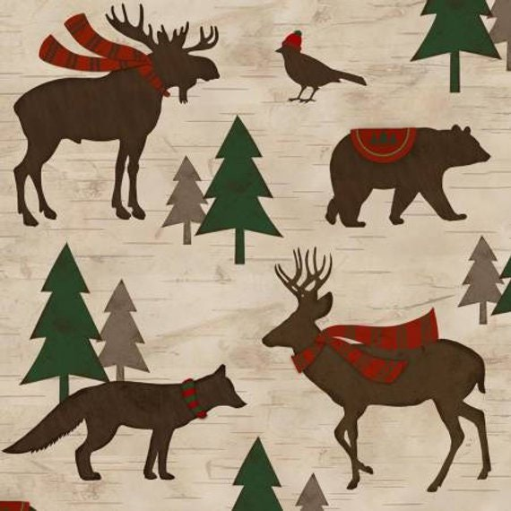 Mountain Animals Dressed For Winter Holiday Christmas Flannel Fabric, Woodland Retreat by Jan Shade Beach, Fabric by the Yard, F6807 34