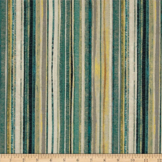 Tuscan Breeze Teal Stripe With Shades Of Gold, Quilt Fabric by the Yard For P&B Textiles. 894t