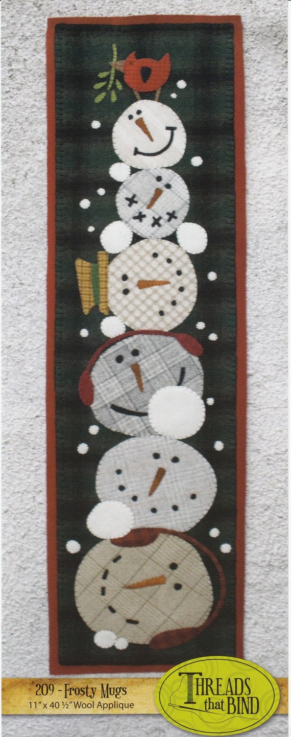 Snowmen Wool Applique Pattern Wall Hanging or Table Runner Winter Decoration Handmade Project Pattern, Frosty Mugs, Threads That Bind