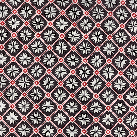 Button Black Scandinavian Design With Red and White by Deb Strain For Moda Fabric by the Yard 19677 15