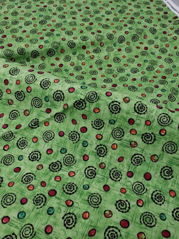 Swirls And Dots On Beautiful Green Background, Flower Power by Lantz, Studio E Fabric by the Yard, 1766