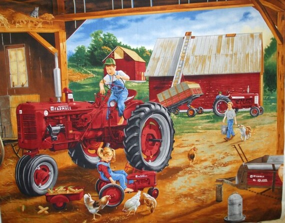 Farmall Tractor Barn Sceen Quilt Fabric 35 Inch Panel, Farmyard Scene With Kids and Chickens Print Concepts 1210