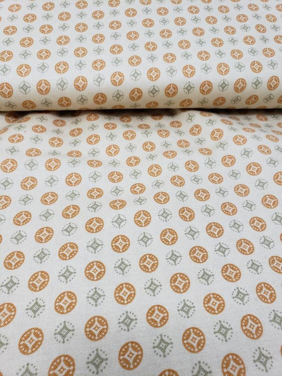 Harvest Gold and Taupe Green Medallion Print on Beige Background, Gatherings by Lisa Ballard for Newcastle Fabrics, Fabric by the Yard 583