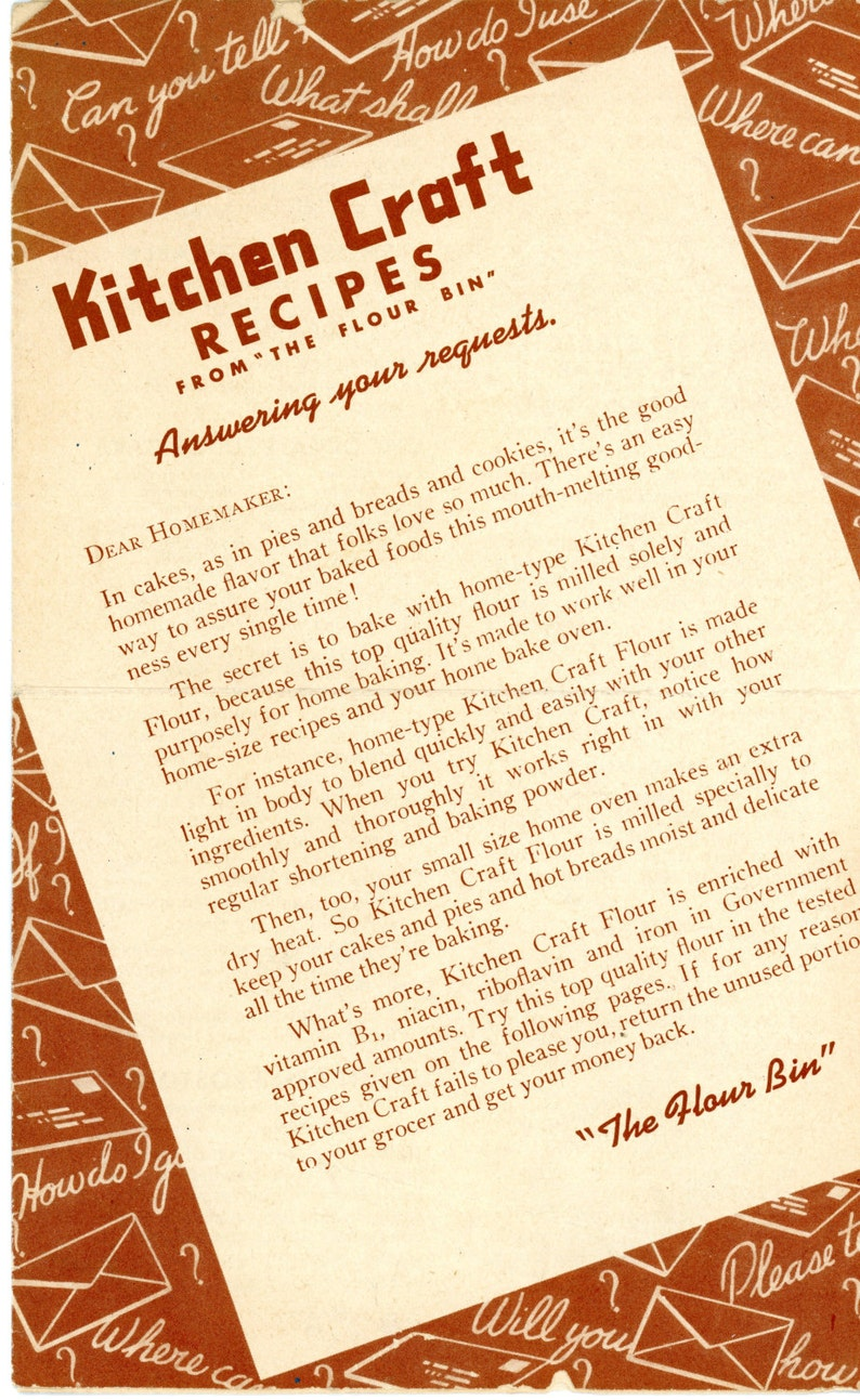 1940s Kitchen Craft Recipes Booklet