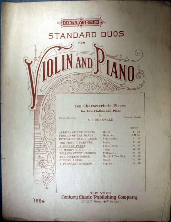 Antiquarian Sheet Music (1910) For Duos - Piano And Two Violins -