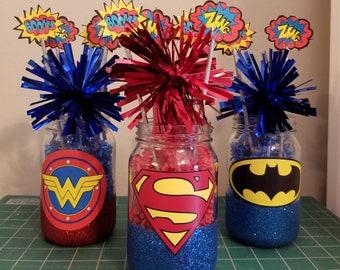 Superhero Birthday Party Centerpieces SET OF 3 Decoration Set Comic Book