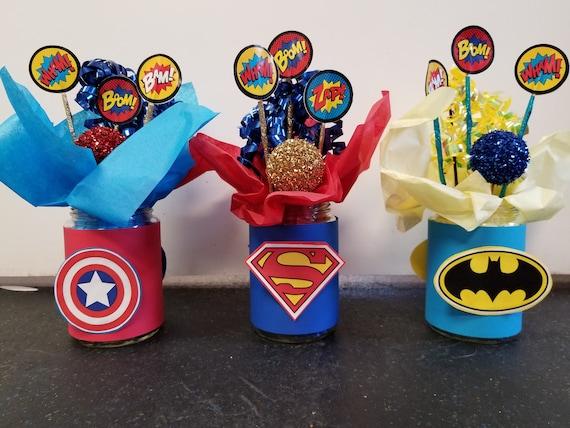 DIY Kit For Superhero Birthday Party Centerpiece