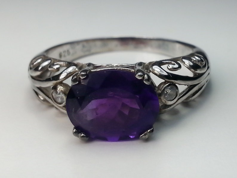 Oval Size 9 Amethyst Sterling Silver Ring 2.23 ct