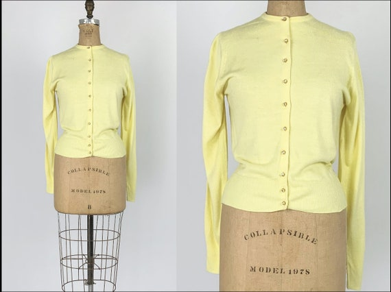 Vintage 1950s/50s Yellow Cashmere Cardigan Sweater