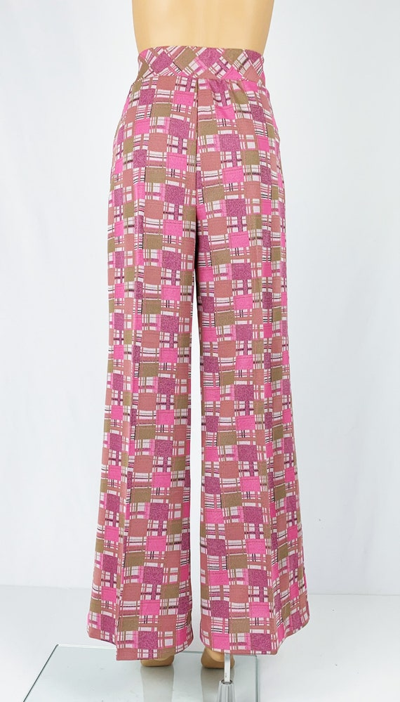 Vintage 1970s/70s High Waisted Double Knit Checke… - image 7