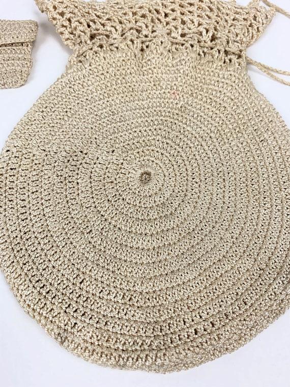 Vintage 1940s/30s Rayon Crochet/Knit Drawstring P… - image 2