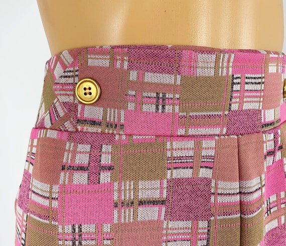 Vintage 1970s/70s High Waisted Double Knit Checke… - image 5