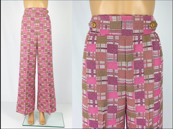 Vintage 1970s/70s High Waisted Double Knit Checke… - image 1