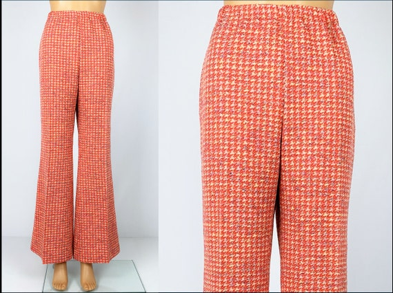 Vintage 1970s/70s Double Knit Houndstooth Polyeste