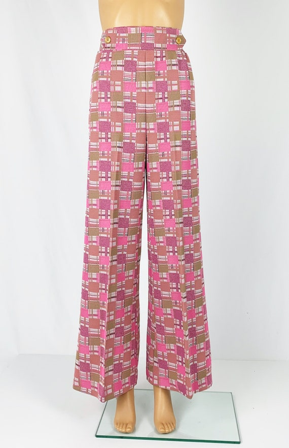 Vintage 1970s/70s High Waisted Double Knit Checke… - image 2
