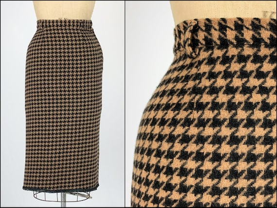 Vintage 1950s/50s Houndstooth Tweed Wool Skirt