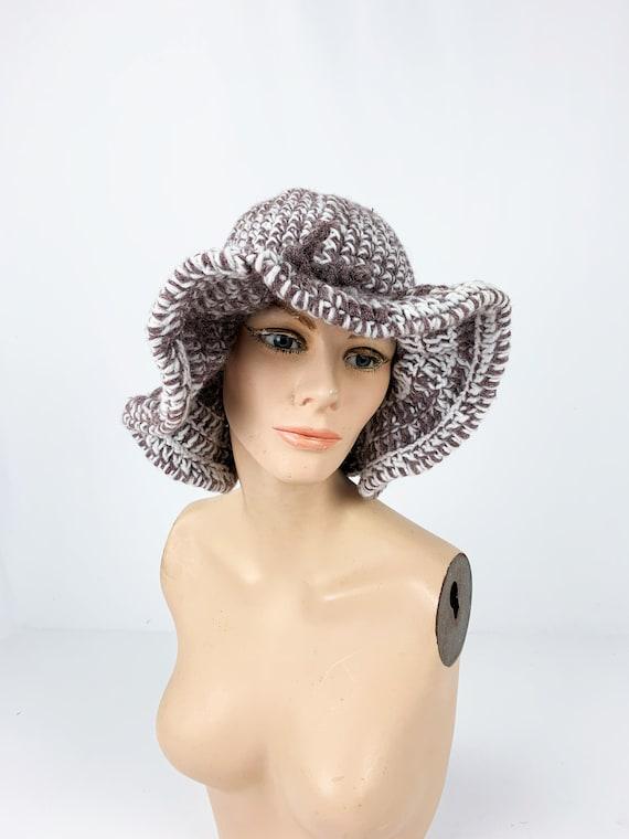Vintage 1970s/70s Crochet Knit Floppy Bucket Hat