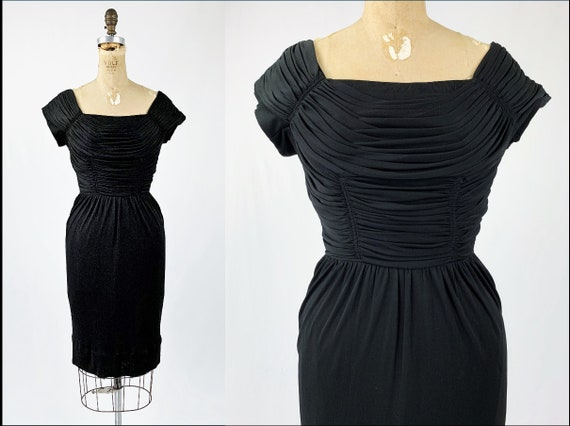Vintage 1950s Black Velvet and Taffeta Gown with Crepe Overlay  1950 Little Black Dress  Vintage Crepe Ruched Dress  Medium  38b 30w