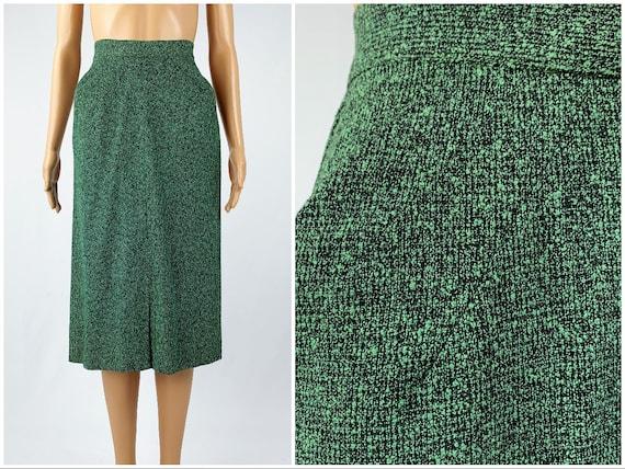 Vintage 1950s/40s Green Fleck Skirt 1940s/50s