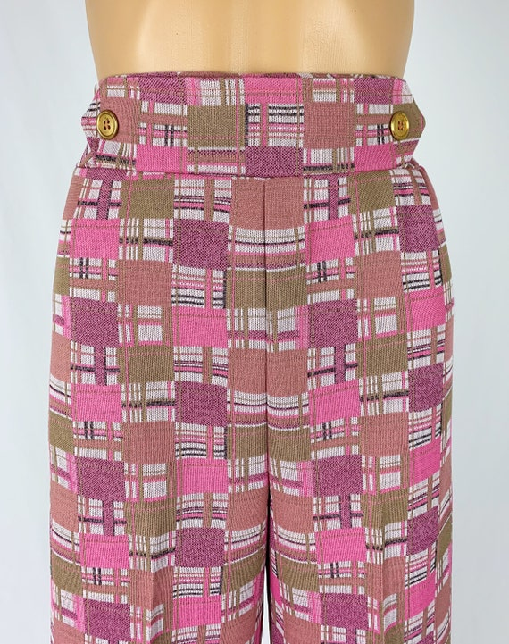 Vintage 1970s/70s High Waisted Double Knit Checke… - image 4