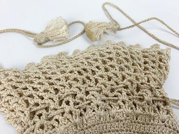 Vintage 1940s/30s Rayon Crochet/Knit Drawstring P… - image 3