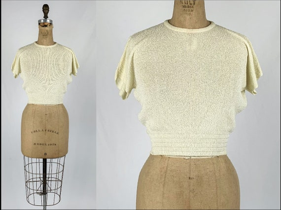 Vintage 1940s/30s Cream Rayon Knit Sweater 1930s/4