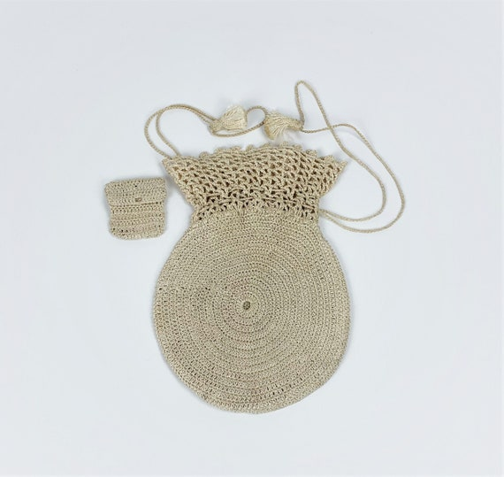 Vintage 1940s/30s Rayon Crochet/Knit Drawstring P… - image 1