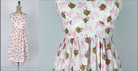 Vintage 1950s/50s Floral Rose Bud Butterfly Print