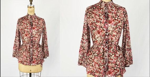 Vintage 1970s/70s Calico Floral Print Top Blouse