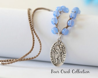 St Christopher Necklace, Blue Opal Glass, Religious, Pewter Pendant, Layering Necklace, Crocheted Jewelry, Boho Jewelry, Knotted Necklace