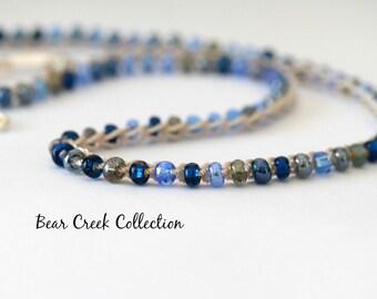 Seed Bead Necklace / Night Blues / Blue, Sapphire Glass, Crochet Beaded Choker, Bohemian, Beach, Summer Jewelry, Crochet Jewelry