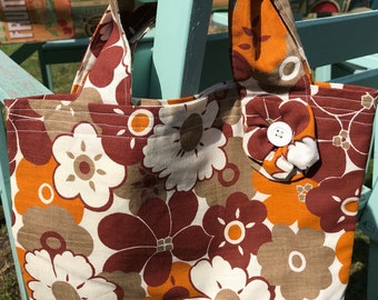 Hand made handbag  using 1970s vintage fabric