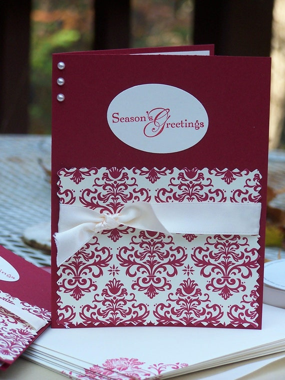 items similar to set of 8 handmade christmas cards with