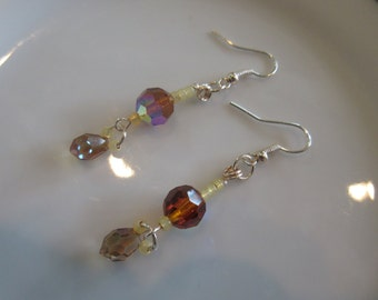 Handmade For You Brown Amber Swarovski Crystal Faceted Beads Briolettes, Rose Gold Plated French Hook Earring Hooks, Wire Wrapping E227
