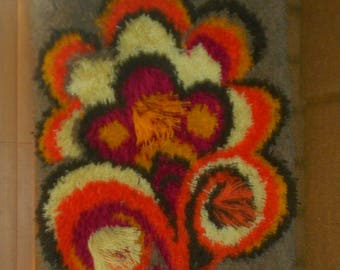 1960s Hand Hooked Rug